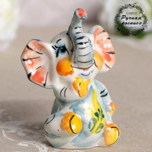Сувенир «Слон Ксюша», фарфор, гжель, цветной 3667008