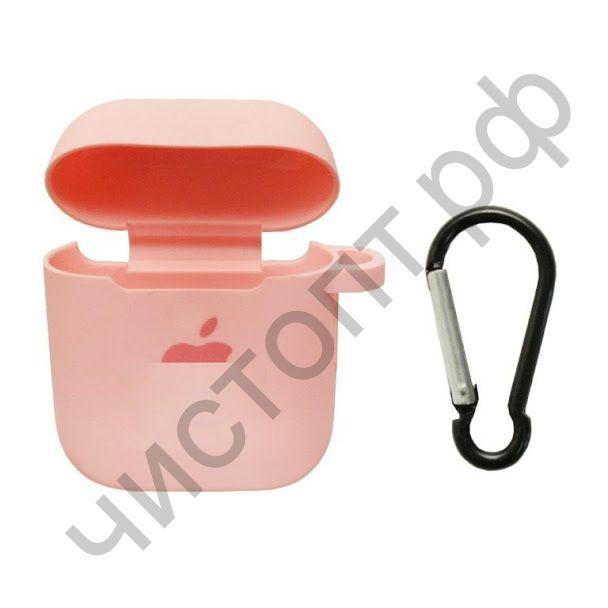 Чехол APods 1/2 Silicon Case + карабин APL rose pink карт. упак.