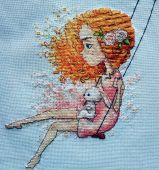"Digital cross stitch pattern ""Red wind""."