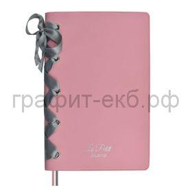 Книжка зап.Феникс+ А6+ ПВХ атласная лента розовая  96л. линия 52771