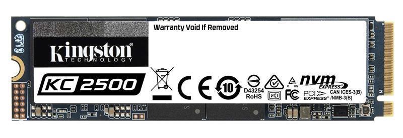 Накопитель SSD  500GB M.2 NVMe Kingston KC2500 M.2 2280 PCIe Gen3.0 x4 3D TLC (SKC2500M8/500G)