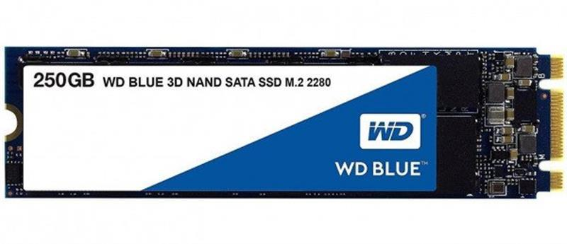 Накопитель SSD  250GB WD Blue M.2 2280 SATAIII 3D TLC (WDS250G2B0B)