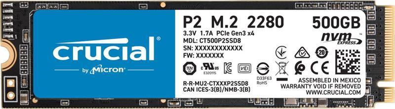 Накопитель SSD  500GB Crucial P2 M.2 2280 PCIe 3.0 x4 TLC (CT500P2SSD8)