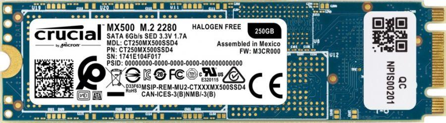 Накопитель SSD  250GB Crucial MX500 M.2 SATAIII TLC 3D NAND (CT250MX500SSD4)