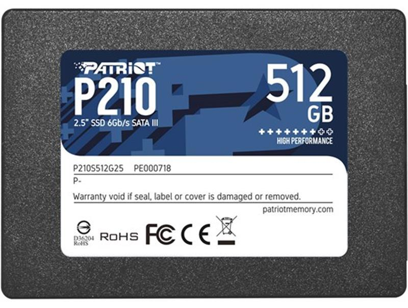 "Накопитель SSD  512GB Patriot P210 2.5"" SATAIII TLC (P210S512G25)"