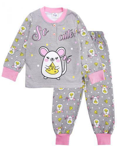 Пижама с начесом, для девочек 2-6 лет BK1251D серая