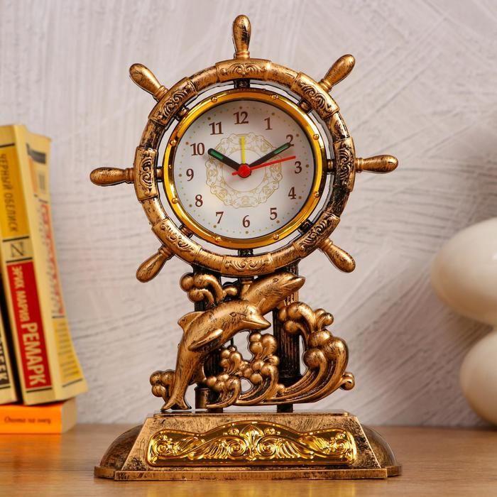 """Часы настольные """"Штурвал"""", с будильником, 3 AA. от сети. дискретный ход   5180679"""