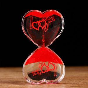 """Песочно-водный антистресс """"Я тебя люблю"""" 7.5х13 см, красный   5090847"""