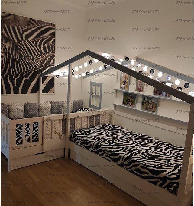 Кровать Домик угловой Fairy Land №38 (для двоих детей)