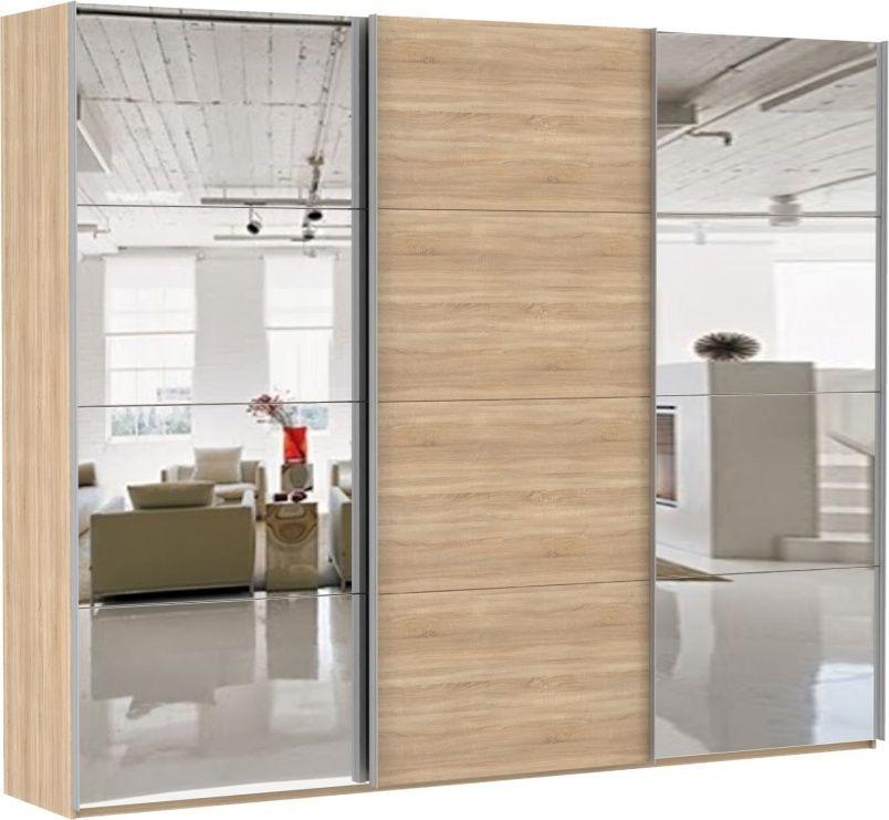Шкаф-купе трехдверный (Зеркало/ДСП/Зеркало) | E1 Прайм
