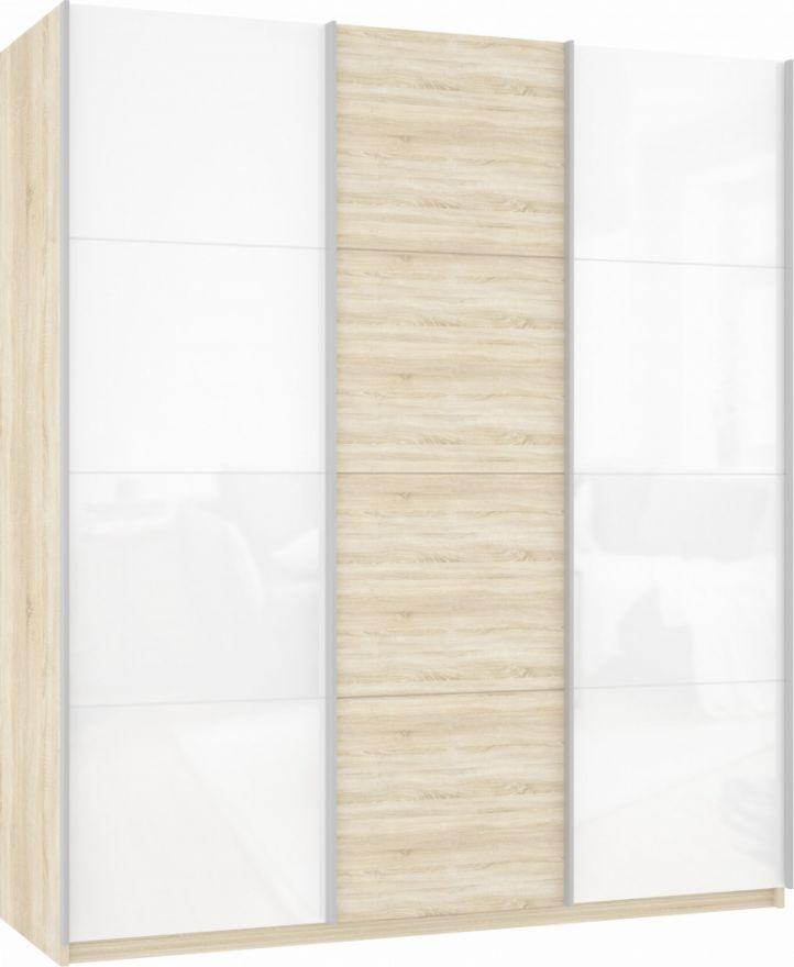 Шкаф-купе трехдверный (Белое стекло/ДСП/Белое стекло) | E1 Прайм