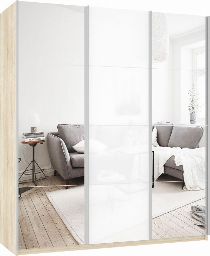 Шкаф-купе трехдверный (Зеркало/Белое стекло/Зеркало) | E1 Прайм