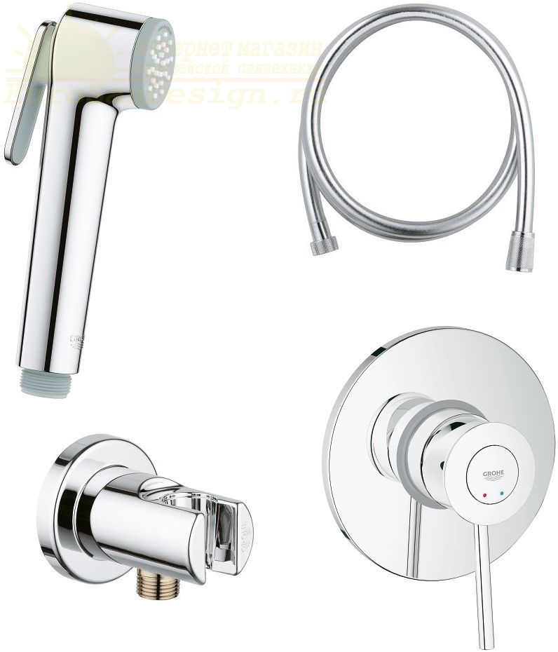 Гигиенический душ Grohe BauClassic 124901 со смесителем ФОТО