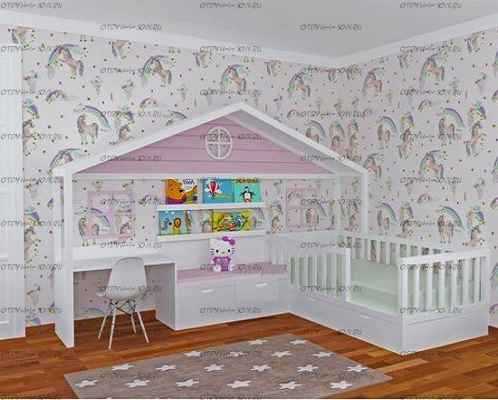 Кровать Домик угловой Fairy Land №44 (для двоих детей)