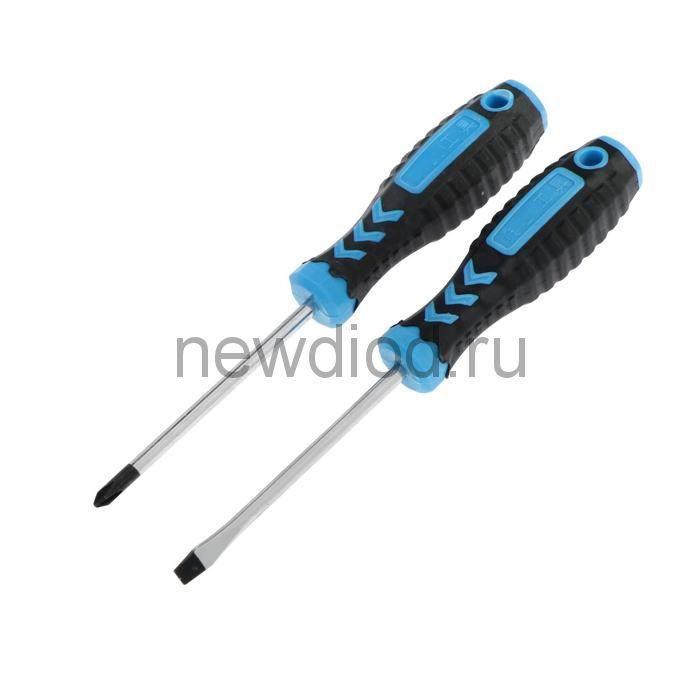 Набор отверток TUNDRA, PH2/SL6 х 100 мм, CrV, обработка сатин, 2К рукоятка, намагнич. жало