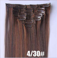Искусственные термостойкие волосы на заколках №4/30 (55 см) - 12 заколок, 130 гр.