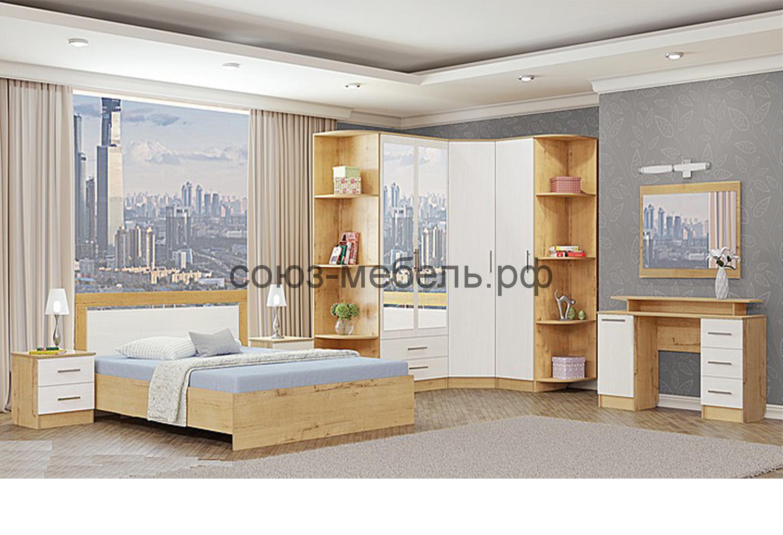Спальня Светлана (тумбы 2шт+кровать №1+угол заверш. №12 - 2шт+шкаф 2х с ящ.+шкаф угл.+пенал+туалетный стол+зеркало)