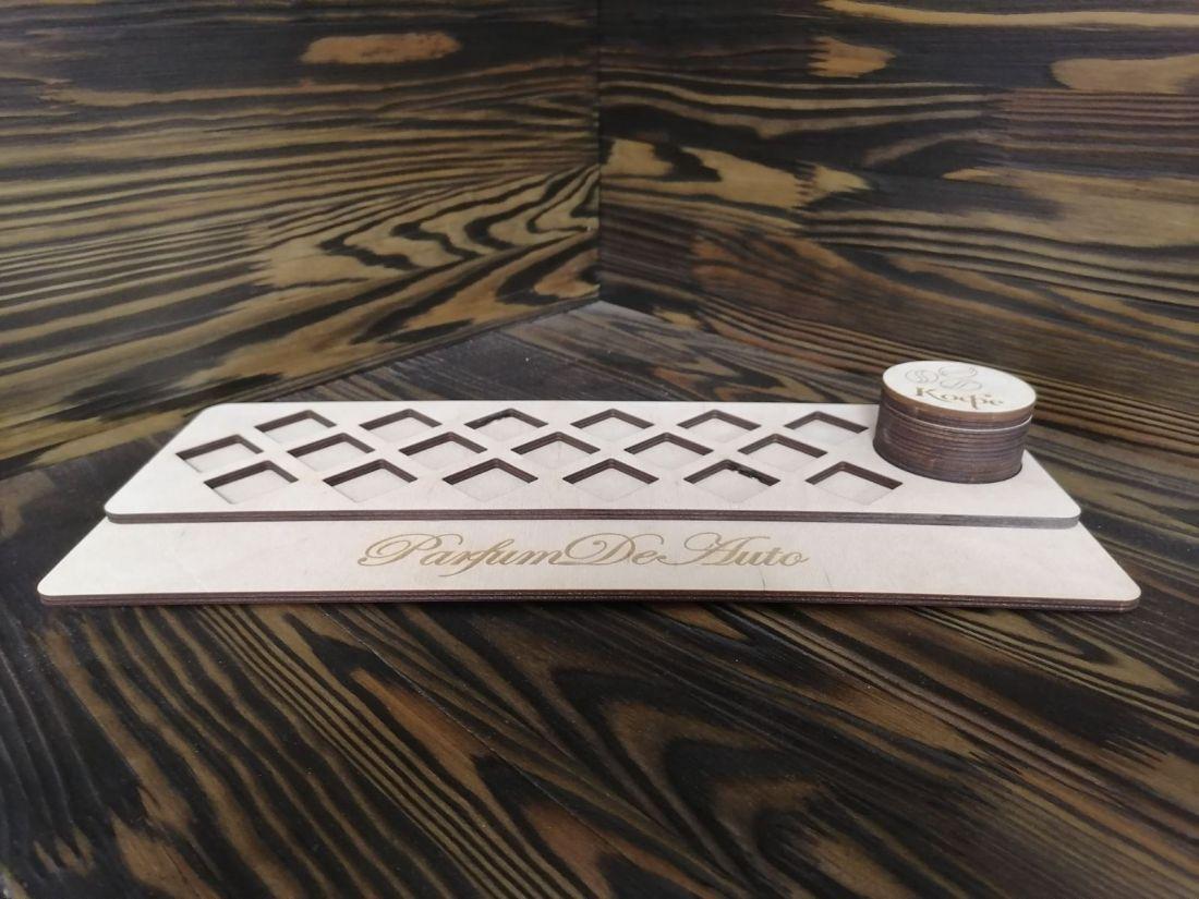 Стойка под 18 флаконов-пробников Куб или Кристалл с кофейной банкой