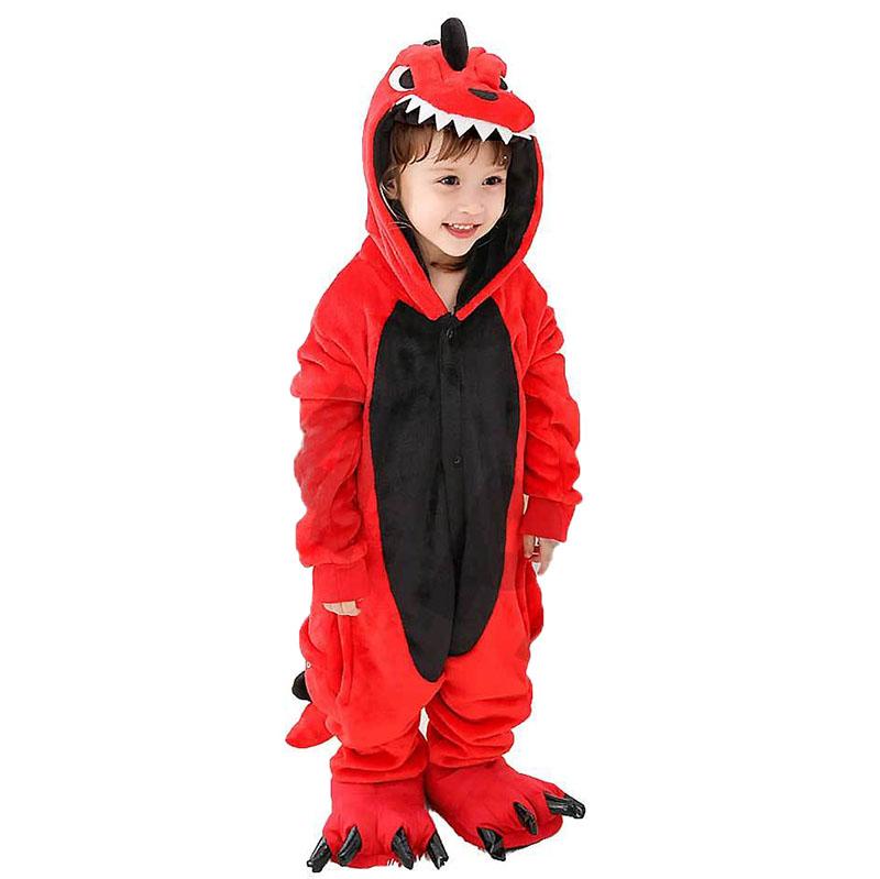 Детская Пижама Кигуруми Динозавр Красный