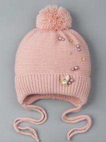 РБ 00-0022021 Шапка вязаная для девочки с бубоном на завязках, на отвороте бантик с бусинками, тускло-розовый