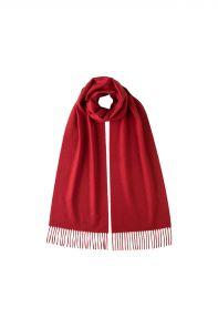 однотонный кашемировый шарф (100% драгоценный кашемир), цвет Алый , CLASSIC CASHMERE SCARF | MERLOT высокая плотность 7