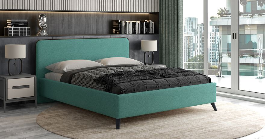 Кровать Миа (арт. Купер 16 жаккард (изумрудный) / кант Лайт 10 Велюр (коричневый)) | Моби