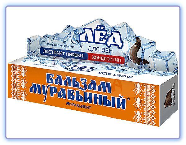 Крем-бальзам для ног Лёд Экстракт пиявки Муравьивит