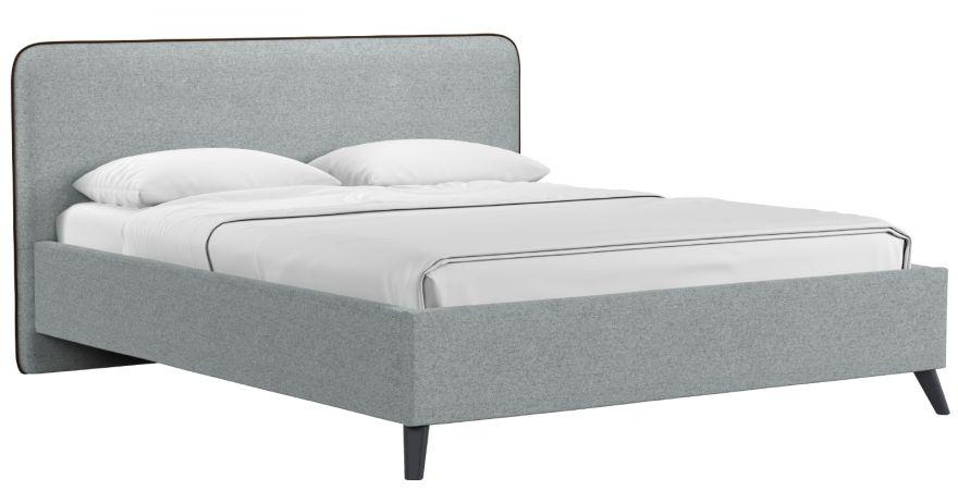 Кровать Миа (арт. Купер 18 жаккард (серый) / кант Лайт 10 Велюр (коричневый)) | Моби