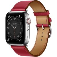 Часы Apple Watch Hermès Series 6 GPS + Cellular 44mm Silver Stainless Steel Case with Rouge Piment Swift Leather Single Tour