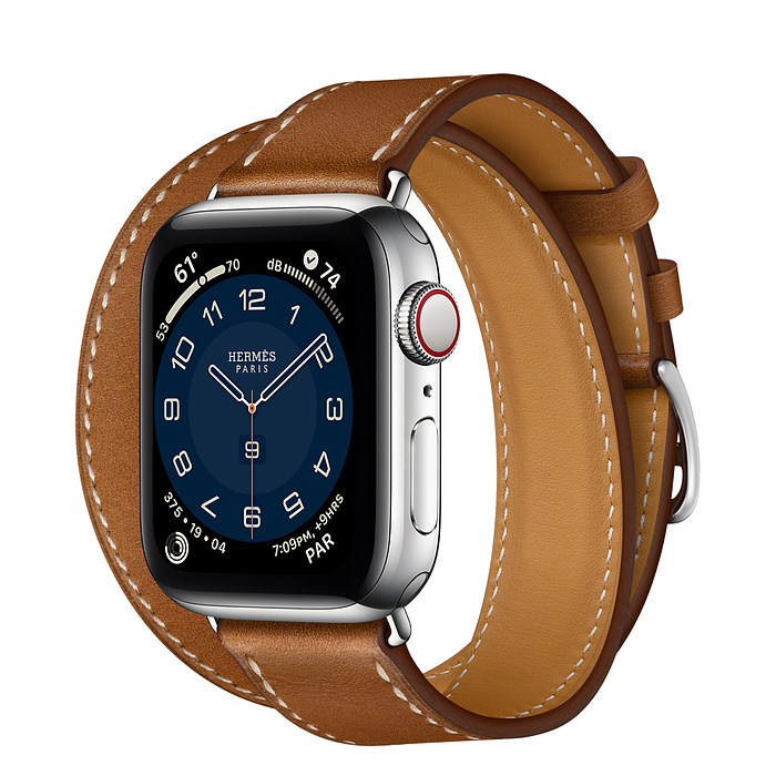 Часы Apple Watch Hermès Series 6 GPS + Cellular 40mm Silver Stainless Steel Case with Fauve Barénia Leather Double Tour