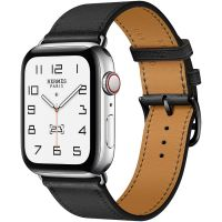 Часы Apple Watch Hermès Series 6 GPS + Cellular 40mm Silver Stainless Steel Case with Noir Swift Leather Single Tour