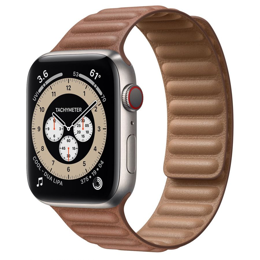 Часы Apple Watch Edition Series 6 GPS + Cellular 44mm Titanium Case with Saddle Brown Leather Link
