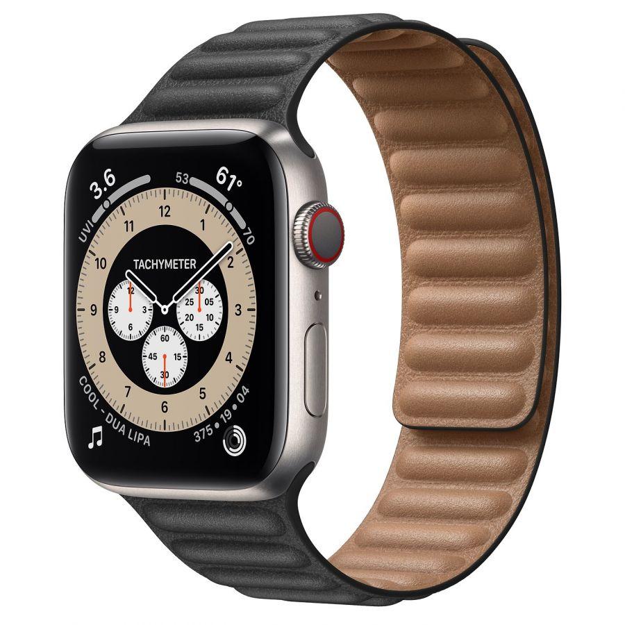 Часы Apple Watch Edition Series 6 GPS + Cellular 44mm Titanium Case with Black Leather Link