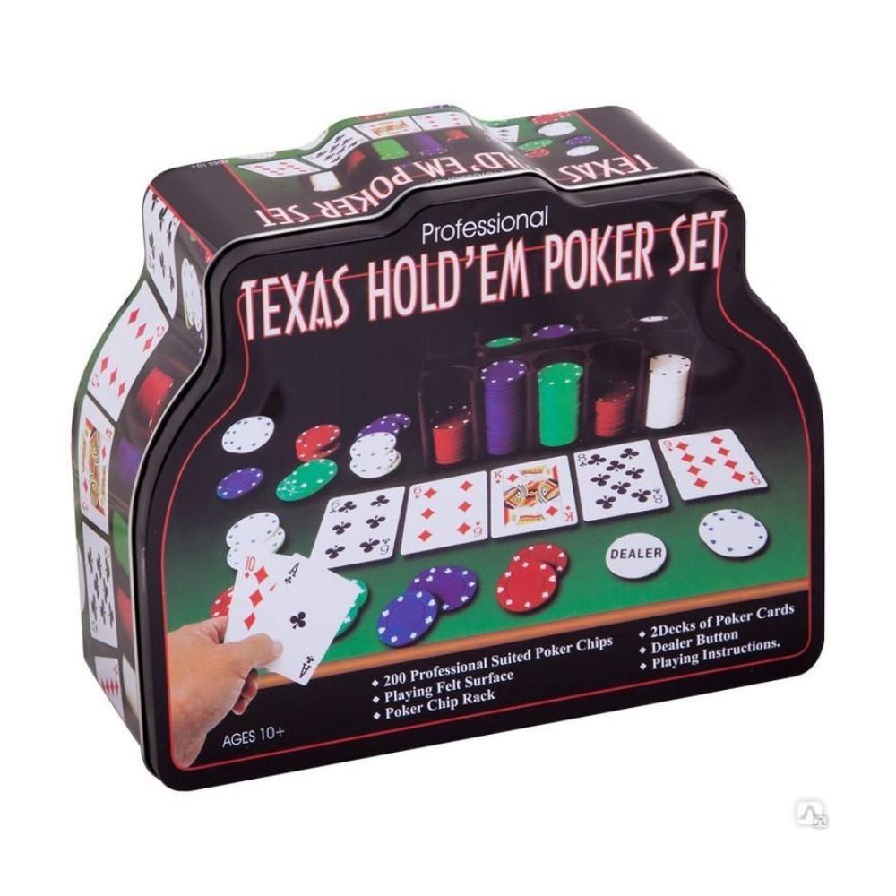Набор для покера из 200 фишек в жестяной коробке + карты и сукно