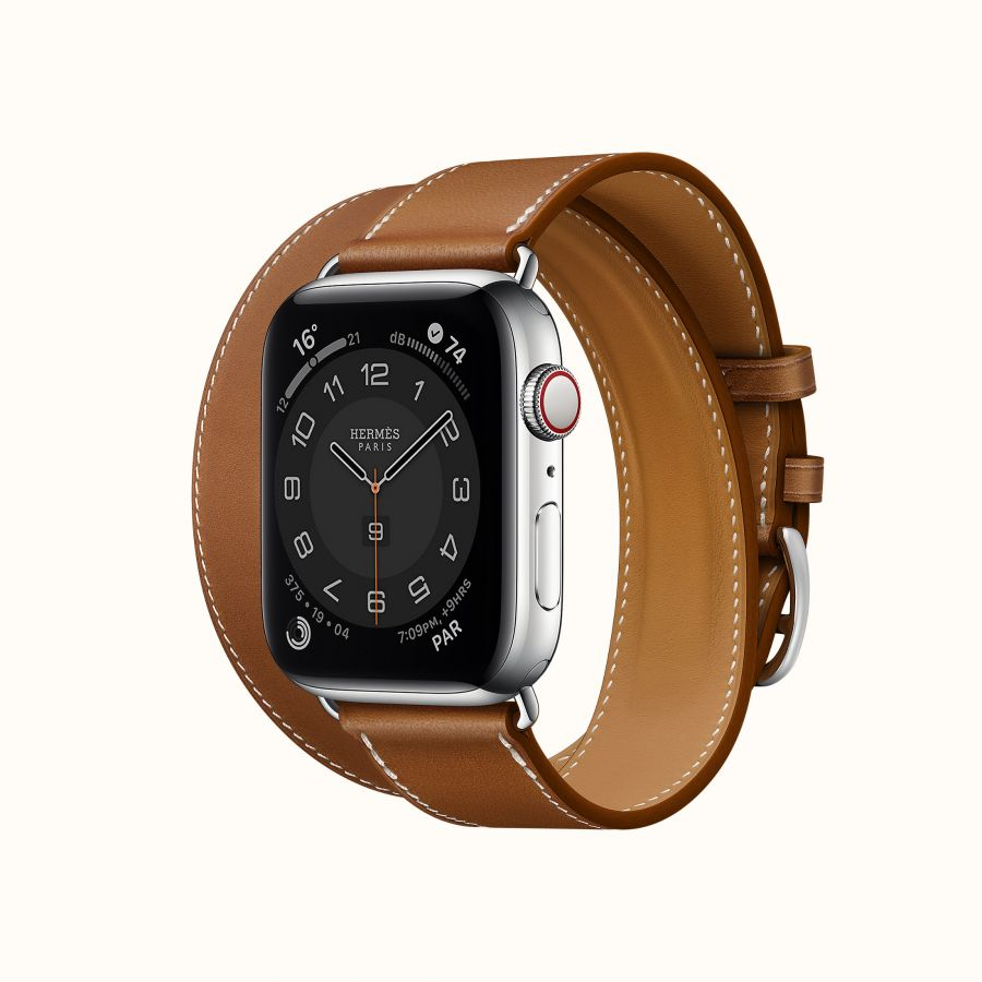 Часы Apple Watch Hermès Series 6 GPS + Cellular 44mm Silver Stainless Steel Case with Fauve Barénia Leather Double Tour
