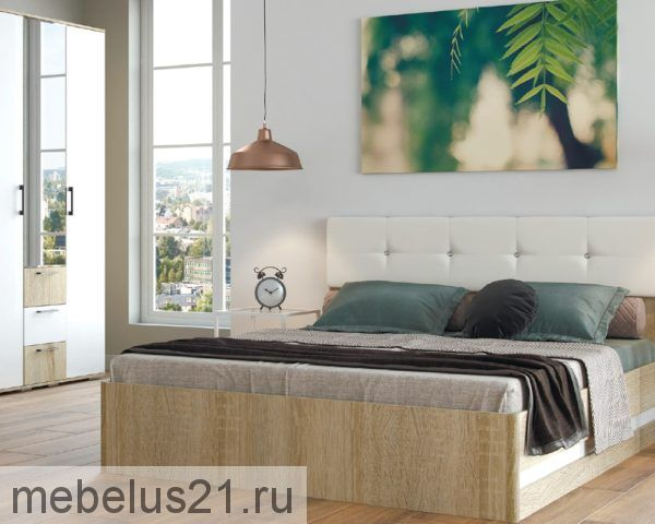 Кровать 1,6 с мягким щитком Белладжио