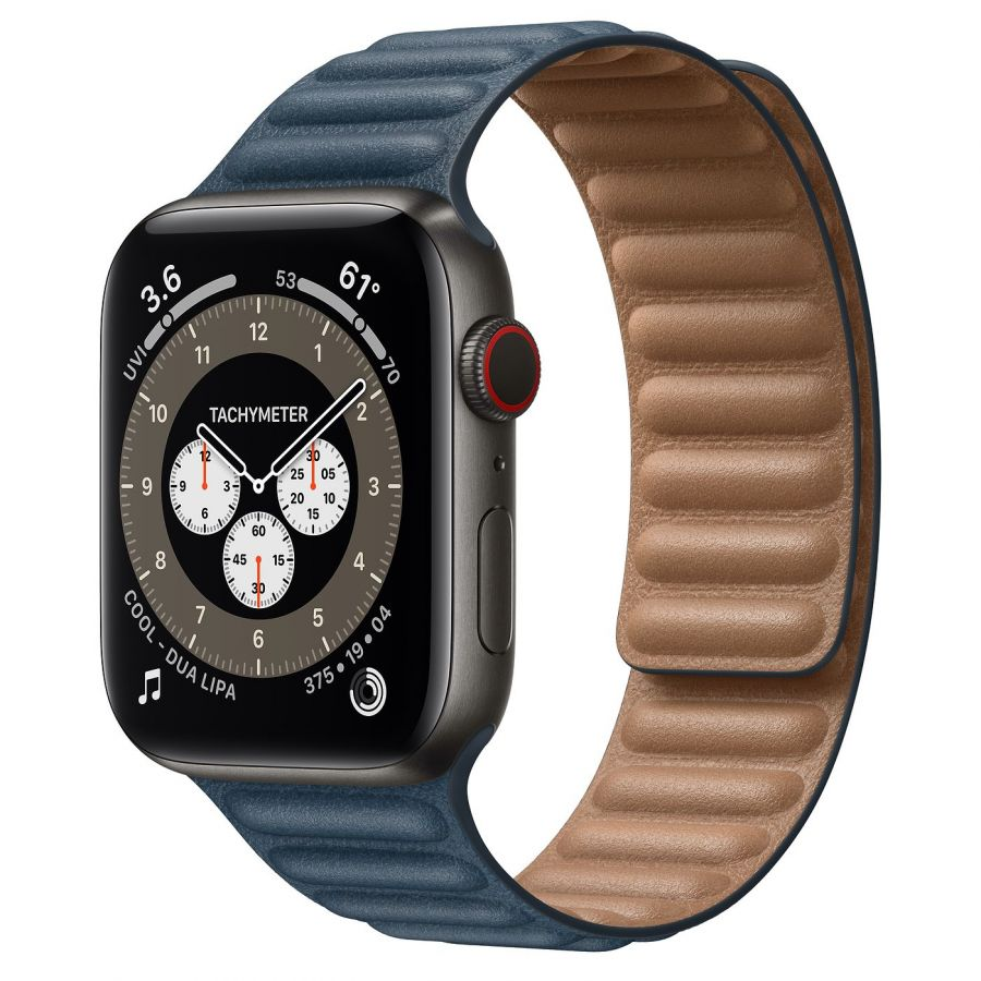 Часы Apple Watch Edition Series 6 GPS + Cellular 44mm Space Black Titanium Case with Baltic Blue Leather Link