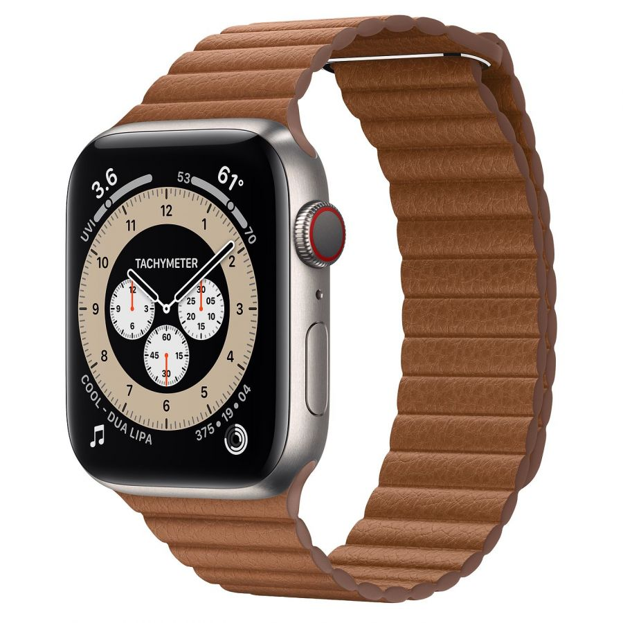 Часы Apple Watch Edition Series 6 GPS + Cellular 44mm Titanium Case with Saddle Brown Leather Loop
