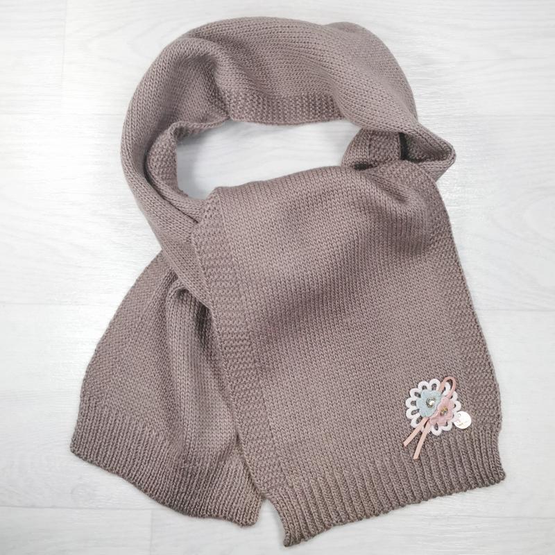 ш1012-22 Шарф детский для девочки крупной вязки Vetex кофе с молоком