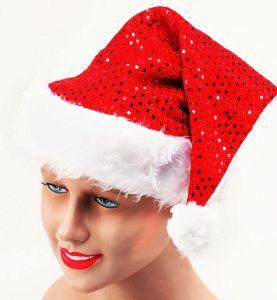 Колпак Деда Мороза с блесками
