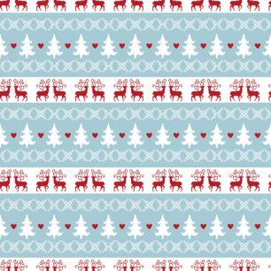 Лоскут трикотажной ткани - Олени и ёлочки 50х40 см