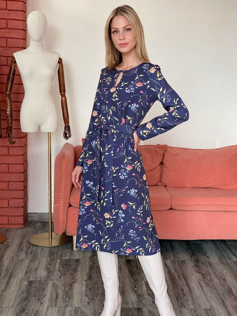 s2877 Платье с фигурной горловиной в цвете маренго