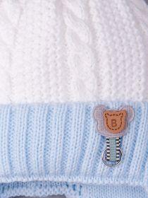 РБ 17815/17816 Шапка вязаная для мальчика на завязках, на отвороте мишка