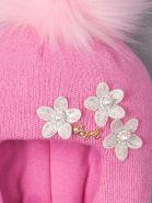 РБ 14368 Шапка-шлем для девочки с помпоном, три цветочка, ангел, ярко-розовый