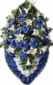 Ритуальный венок из искусственных цветов - Элит #8 синий из гвоздик и лилий