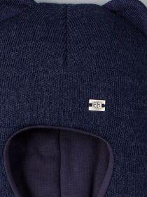 РБ 21880 Шапка-шлем вязаная для мальчика с ушками, нашивка RB, темно-синий