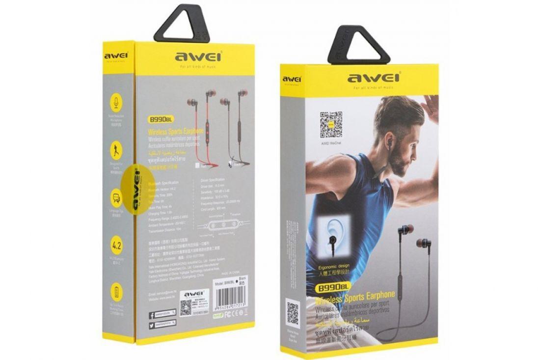 Вакуумные беспроводные наушники с микрофоном AWEI B990BL Bluetooth (Черный)