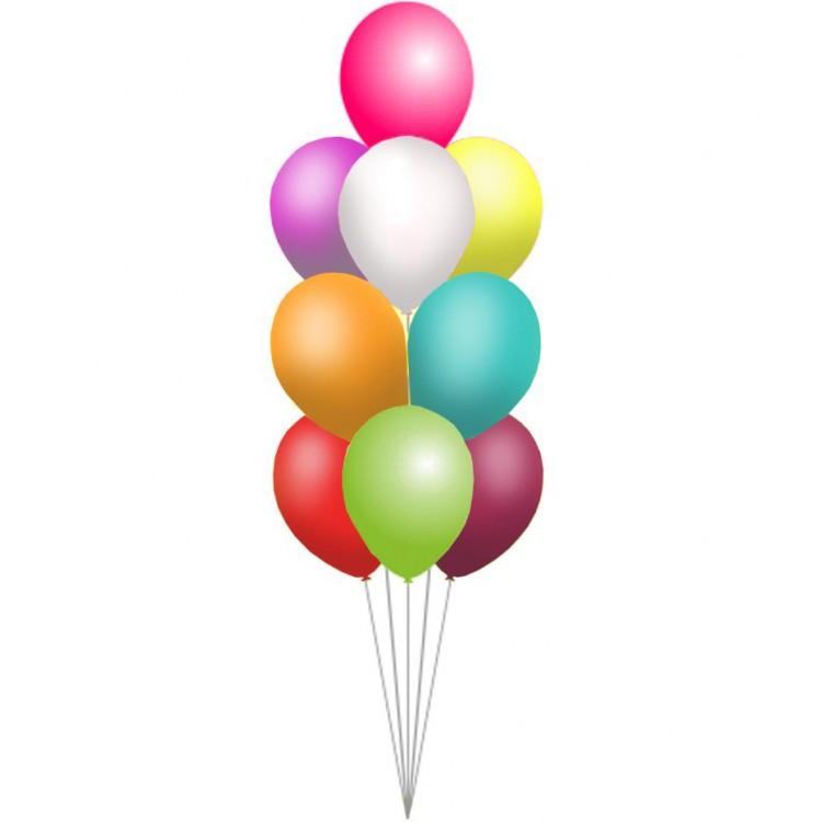 Фонтан из десяти воздушных шаров