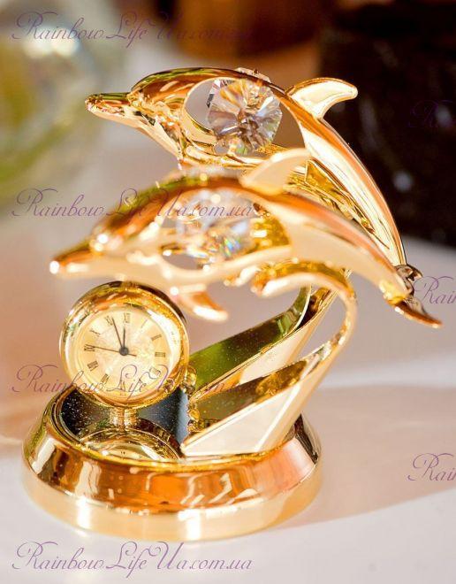 "Часы - фигурка Дельфины с камнями ""Swarovski"""