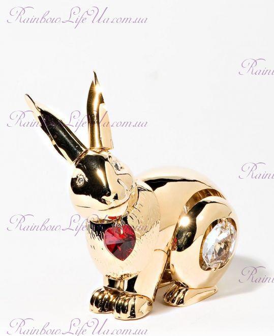 """Фигурка кролик с сердцем с камнями """"Swarovski"""""""